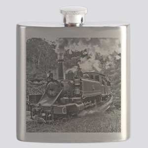 Old Fashioned Black and White Steam Train Ph Flask