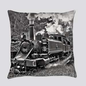 Old Fashioned Black and White Stea Everyday Pillow