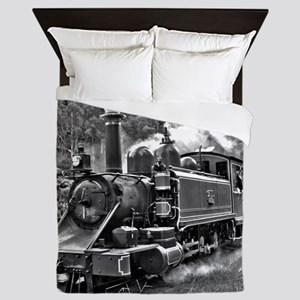 Old Fashioned Black and White Steam Tr Queen Duvet