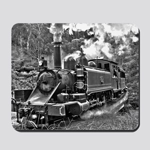 Old Fashioned Black and White Steam Trai Mousepad