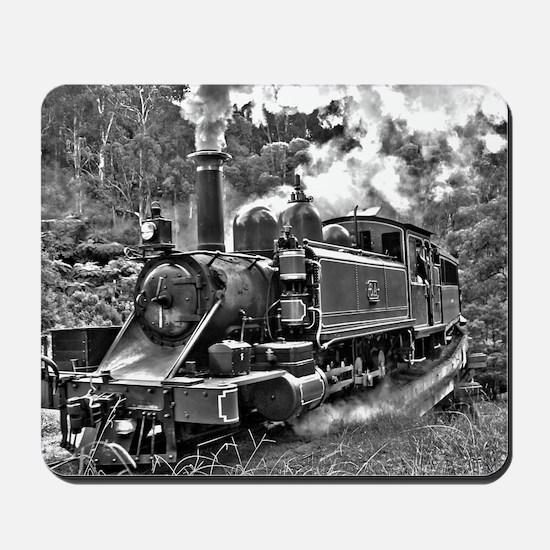 Old Fashioned Black and White Steam Trai Mousepad