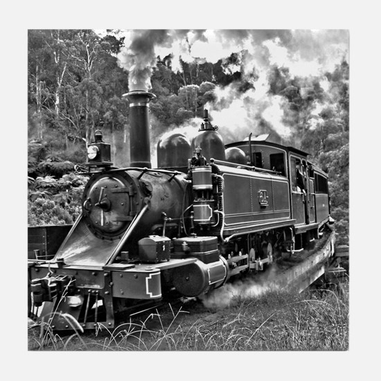 Old Fashioned Black and White Steam T Tile Coaster