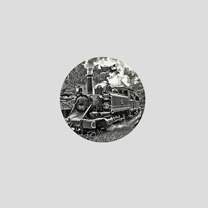 Old Fashioned Black and White Steam Tr Mini Button