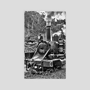 Old Fashioned Black and White Steam Train Area Rug