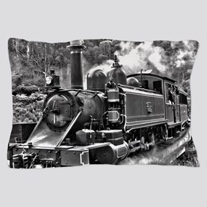 Old Fashioned Black and White Steam Tr Pillow Case