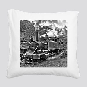 Old Fashioned Black and White Square Canvas Pillow