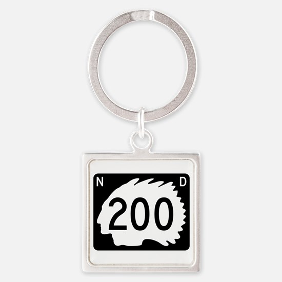 Highway 200, North Dakota Square Keychain
