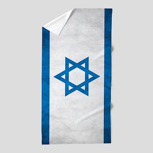 Grunge Flag Of Israel Beach Towel