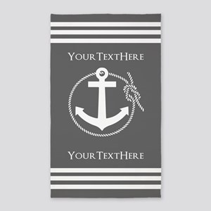 Gray and White Anchor and Rope Personaliz Area Rug