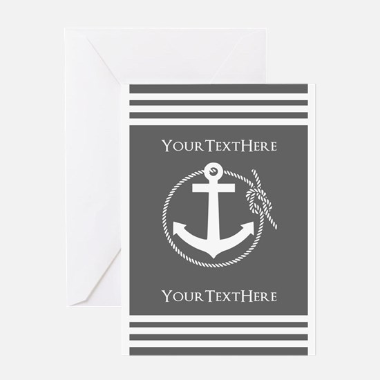 Gray and White Anchor and Rope Perso Greeting Card