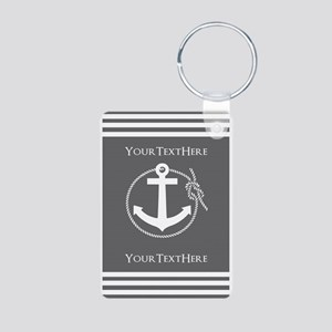 Gray and White Anchor and Aluminum Photo Keychain