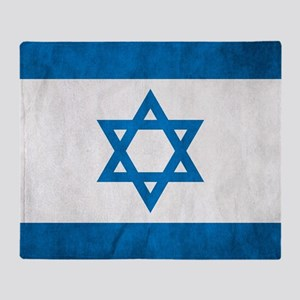 Grunge Flag Of Israel Throw Blanket