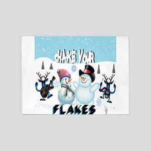 shake your flakes winter theme 5'x7'Area Rug