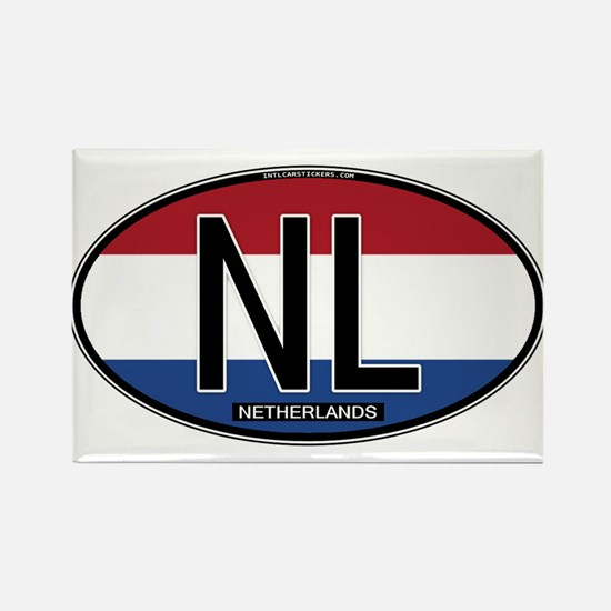 Netherlands Oval Colors Rectangle Magnet