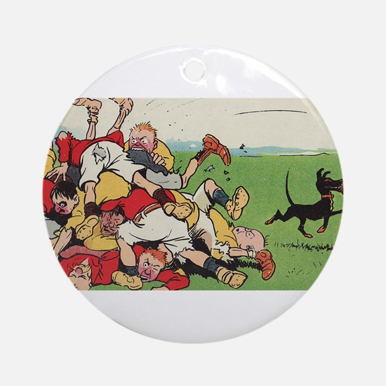 rugby art Ornament (Round)