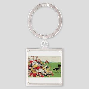 rugby art Keychains