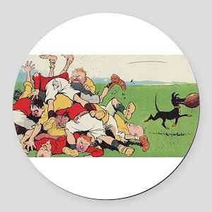 rugby art Round Car Magnet