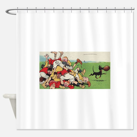 rugby art Shower Curtain