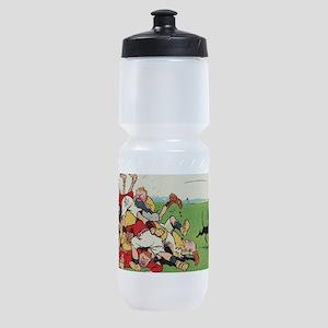 rugby art Sports Bottle