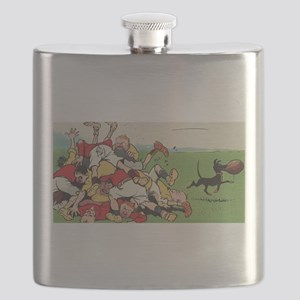 rugby art Flask