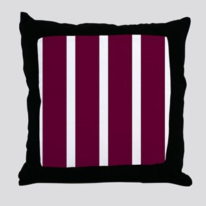 Bold Dark Red Stripe Throw Pillow