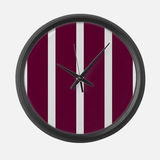 Bold Dark Red Stripe Large Wall Clock