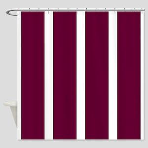 Bold Dark Red Stripe Shower Curtain