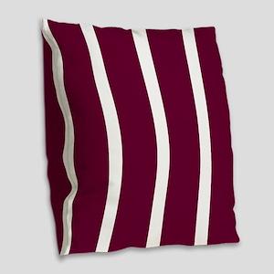 Bold Dark Red Stripe Burlap Throw Pillow