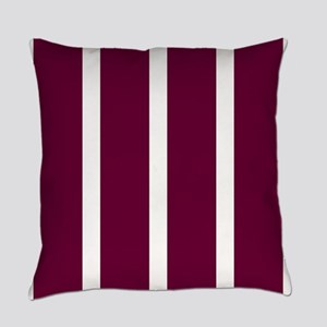 Bold Dark Red Stripe Everyday Pillow