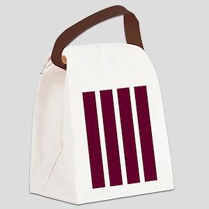 Bold Dark Red Stripe Canvas Lunch Bag