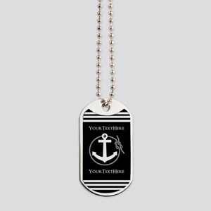 Personalized Black and White Anchor and R Dog Tags