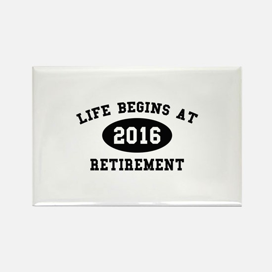 Life Begins At Retirement Rectangle Magnet