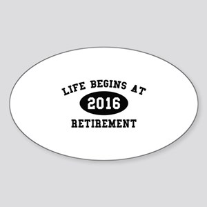 Life Begins At Retirement Sticker (Oval)