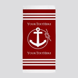 Personalized Red and White Nautical An Beach Towel