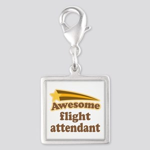Awesome Flight Attendant Silver Square Charm