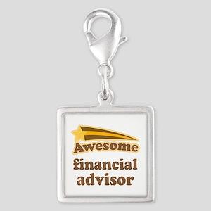 Awesome Financial Advisor Silver Square Charm