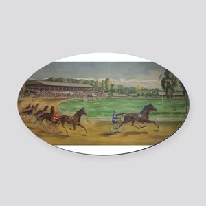 larness racing art Oval Car Magnet