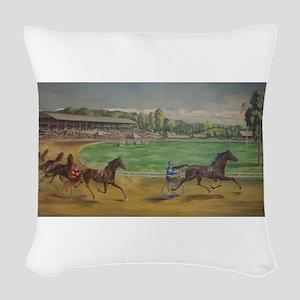 larness racing art Woven Throw Pillow