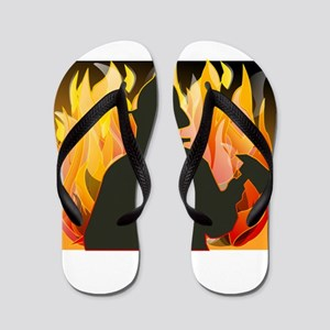 Firefighter silhouette against flames Flip Flops