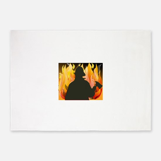 Firefighter silhouette against flam 5'x7'Area Rug