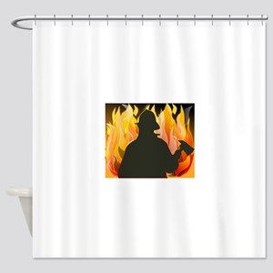 Firefighter silhouette against flam Shower Curtain