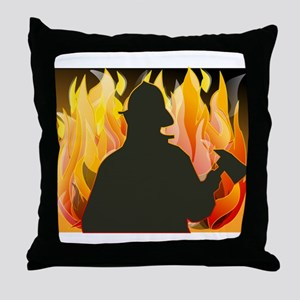 Firefighter silhouette against flames Throw Pillow