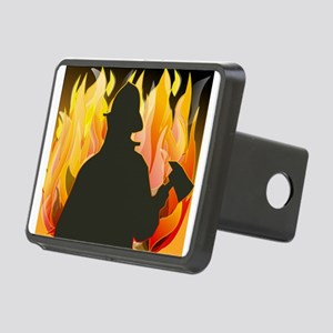 Firefighter silhouette aga Rectangular Hitch Cover