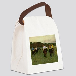 degas horse racing art Canvas Lunch Bag