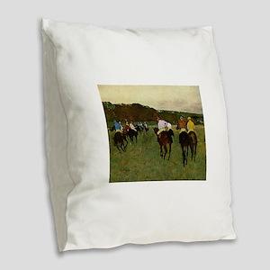 degas horse racing art Burlap Throw Pillow