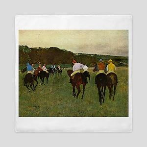 degas horse racing art Queen Duvet