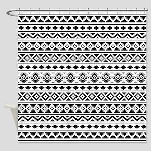 Aztec Essence (II) BW Shower Curtain