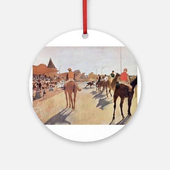 degas horse racing art Ornament (Round)