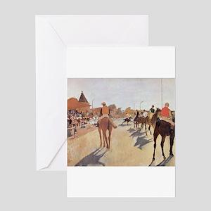 degas horse racing art Greeting Cards