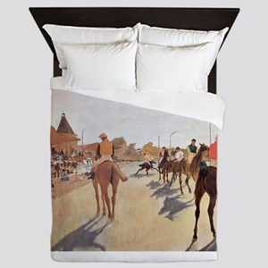 degas horse racing art Queen Duvet